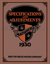 1930 Buick Marquette Specifications and Adjustments Shop Manual Repair Service