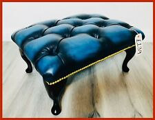 Chesterfield Buttoned Queen Anne Antique Blue Leather Footstool