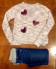 Girls Justice Heart Sweater & Jeggings Size 10/12