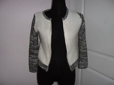 MAX STUDIO GIRL'S White/black Front zip Knit Sweater,long Sleeve,S-10-12,Acryl