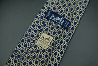 Hermes Paris Made In France Blue Chain Geometric Pattern Silk Tie 7568 SA