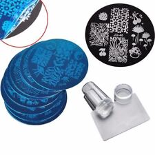 10Pcs Nail Plates + Clear Jelly Silicone Nail Art Stamper Scraper with Cap  Stam