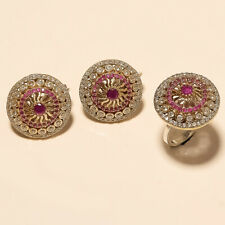 Sterling Silver Turkish Two Tone Jewelry Natural Burmese Ruby Ring Earrings 925