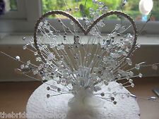 Heart Wedding Anniversary Birthday Crystal Diamante Crystal Cake Topper