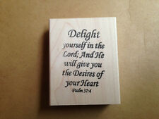Mounted Rubber Stamps, Christian, Bible Verses, Delight Yourself in the Lord