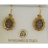 Damascene Gold Star of David Oval Drop Earrings by Midas of Toledo Spain 8105
