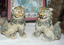 Two Adorable Ceramic Foo Lion Statues