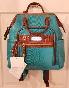 Samantha Brown Croco Embossed Ombre Backpack PEACOCK/CAMEL SOLD OUT COLOR NWT