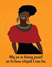 METAL REFRIGERATOR MAGNET African American Black Woman Ex Proof I Stupid Humor