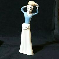 """Vintage Ceramic Woman Carrying Jug on Head 11""""Tall White Skirt Blue Top Preowned"""