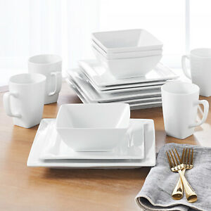16-Piece Porcelain Dinnerware Set Square White Dinner Plates Dishes New