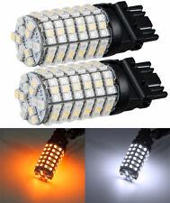2x Dual Color Amber White 3157 1210 Chip 120 SMD Switchback LED Car Light Bulb