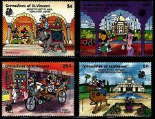 SELLOS TEMA DISNEY. ST. VICENTE  & GRANADINES 1989 574/77 VISITA INDIA 4v.