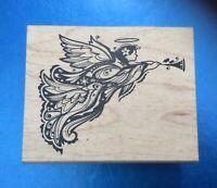 NEW Inkadinkado 'Angel' Christmas Wooden Backed Rubber Stamp 99637DD 🎄