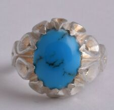 Egyptian Turquoise Sterling silver Men Ring-Middle Eastern-clear Turquoise
