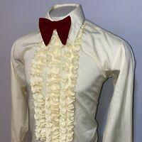 Vtg 60s 70s Lion of Troy Tuxedo Shirt YELLOW Ruffles Dress Mod Prom Mens LARGE
