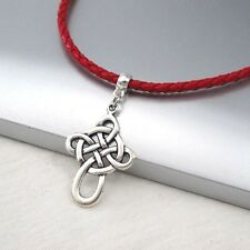 Silver Alloy Irish Celtic Cross Pendant 3mm Braided Red Leather Ethnic Necklace