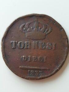 1833 naples 10 tornesi coin Italian states good collectable grade