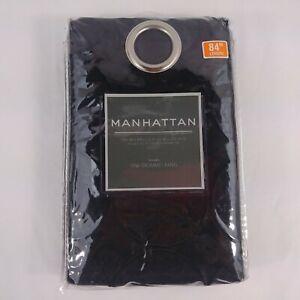 Manhattan Curtains Black One Gromet Panel 84 in Long Geometric Design New