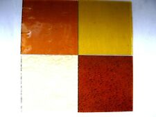 4 Amber Stained Glass Hobby Sheets 100mm x 100mm x 3m  Quality Craft Items LOT A