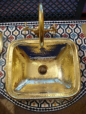 Brass  Moroccan hand hammered plain rectangle sink wash basin