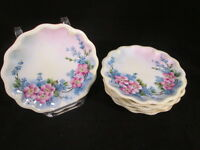 "6 Limoges France Gerard 7"" Plates Pink & Blue Flowers Yellow Tint Gold Trim"