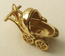 GENUINE SOLID 9ct Yellow GOLD 3D BABY PRAM NEW BORN BABY SHOWER CHARM/PENDANT