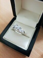 white gold finish crossover created diamond ring size O free postage gift idea