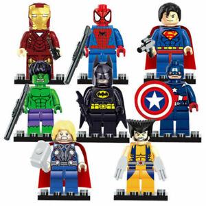 8X Captain America Batman Superman Thor Super Hero Mini Figure Blocks Toy Gift