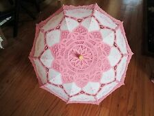 New white and pink eyelet lace parasol umbrella medieval renaissance cos play