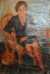 Vintage oil painting female portrait