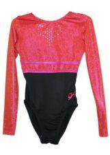 Gk Elite Jeweled Fiesta Pink/Blk Gymnastics Leotard Axs Adult Extra Small 4165