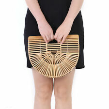 Bamboo Handbag Women's Beach Ark Bag Bamboo Purse Clutch Wooden Ark Bag US STOCK