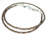 """Natural Brown Smoky Gemstone Rondelle Faceted 3-4 mm Beads 17"""" Strand Necklace"""