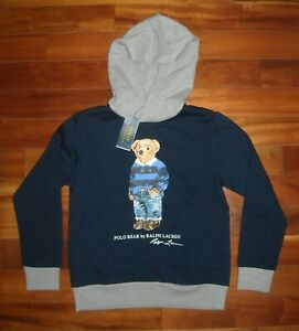 NWT Polo Ralph Lauren Boy's ''Polo Bear'' Hoodie Size M ( 10-12 ) Navy / Gray
