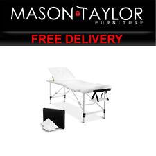Mason Taylor 3 Fold Portable Aluminium Massage Table - White MT-ALUM-F4-WHITE-60