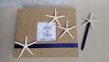 Starfish Beach Guest Book & Pen Set - Wedding Guestbook Sign Burlap Handmade
