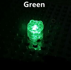 BRICKBUMS CUSTOM 2X2 ROUND GREEN LED LIGHT BRICK FOR LEGO NEW