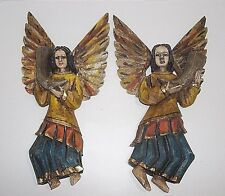 Antique Carved Wood SANTOS ANGELS Set Of 2 Polychromed 14""