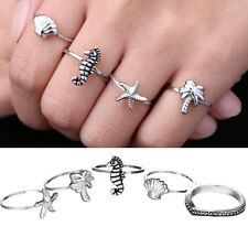 5 Pcs/set Vintage Silver Starfish Hippocampus Knuckle Joint Ocean Animals Rings