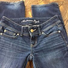 American Eagle Womens Sz 0 Slim Stretch Boot Cut Dark Wash Whisker Jeans 28 x 32