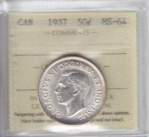 1937 Canada Fifty Cents - ICCS MS-64 Choice Half Dollar Coin