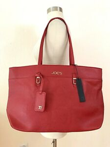 NWT JOE'S JEANS CITY BAG RED VEGAN SAFFIANO LEATHER TOTE $110