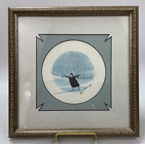P. Buckley Moss Framed & Signed Print- Skating Girl w/ Custom Frame & Matting