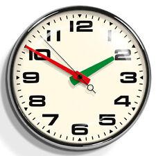 40 cm Large Brixton Silent Wall Clock Retro Design Vintage Decor Chrome Quartz