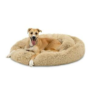 Self-Warming Shag Fur Calming Pet Bed With Water Resistant Lining Multi Size