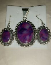 Necklace w/ matching earrings Gorgeous Mexican Nickle Silver Purple