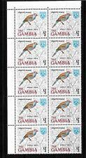 Gambia, 1966 Birds 0.5d Red-cheeked Cordon Bleu, MNH  corner block of 10 (G079)