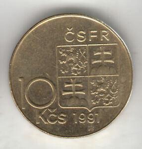 CZECHOSLOVAKIA 10 KORUN 1991 STEFANIK SCARCE          188K     BY COINMOUNTAIN