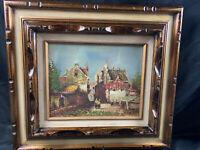 Vintage Lawrence Oil Painting on Board Landscape Signed Framed Art MCM